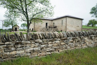 Rebuilt stone fence at Stonebridge